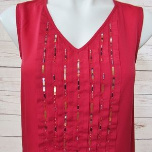 Tommy Hilfiger Embellished Blouse, Red, S, Pleated
